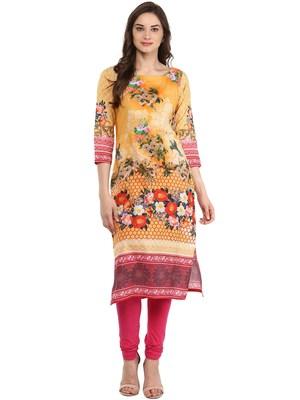 Yellow printed Cotton stitched kurti