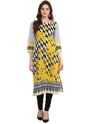 Black,White printed Cotton stitched kurti