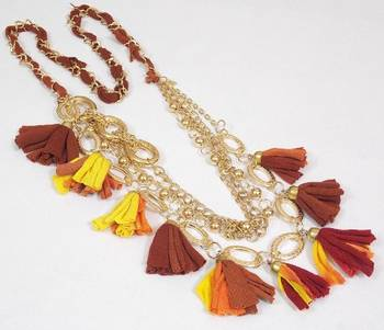 Two Colored Tussels Necklace