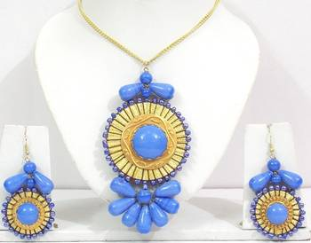 Golden And Blue Glass Beads Necklace Set