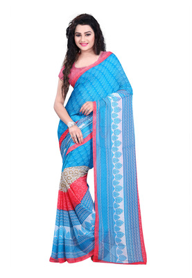 sky_blue printed georgette saree with blouse