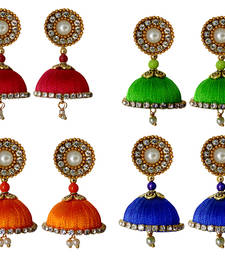 Buy Handmae Silk Thread Lawn Green Red Orange and Navy Blue Dangler Jhumka Earrings combo Set women-ethnic-wear online
