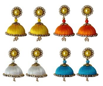 Handmae Silk Thread Leamon Yellow Orange Dark Sky Blue and White Dangler Jhumka Earrings combo Set
