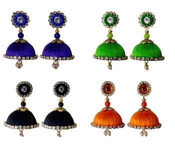 Handmae Silk Thread Navy Blue Black Lawn Green and Orange Dangler Jhumka Earrings combo Set