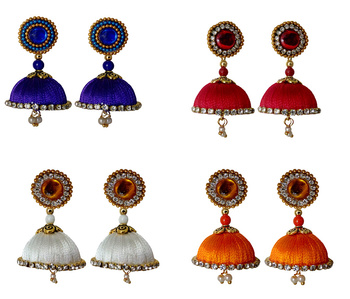 Handmae Silk Thread Navy Blue Orange Red and White Dangler Jhumka Earrings combo Set
