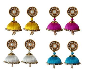 Handmae Silk Thread White Red Magenta and Dark Sky Blue Dangler Jhumka Earrings combo Set