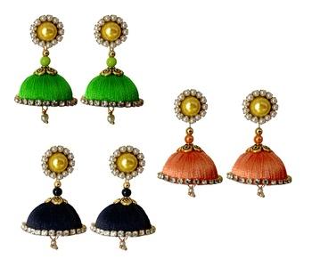 Handmae Silk Thread Lawn Green Black and Peach Dangler Jhumka Earrings combo Set