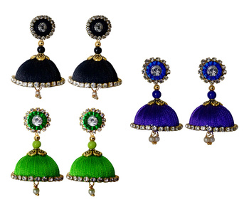 Handmae Silk Thread Lawn Green Black and Navy Blue Dangler Jhumka Earrings combo Set