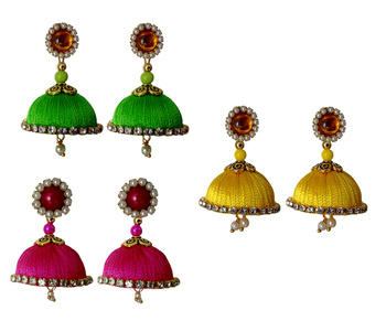 Handmae Silk Thread Lawn Green Leamon Yellow and Pink Dangler Jhumka Earrings combo Set