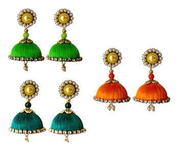 Handmae Silk Thread Lawn Green Orange and Peacock Green Dangler Jhumka Earrings combo Set