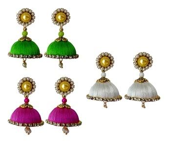 Handmae Silk Thread Lawn Green White and Magenta Dangler Jhumka Earrings combo Set