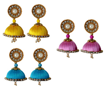 Handmae Silk Thread Leamon Yellow Dark Sky Blue and Baby Pink Dangler Jhumka Earrings combo Set