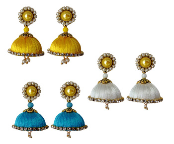 Handmae Silk Thread Leamon Yellow White and Deep Sky Blue Dangler Jhumka Earrings combo Set