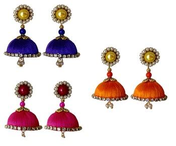 Handmae Silk Thread Navy Blue Orange and Pink Dangler Jhumka Earrings combo Set