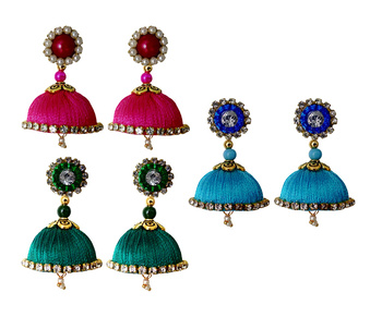 Handmae Silk Thread Peacock Green Dark Sky Blue and Pink Dangler Jhumka Earrings combo Set