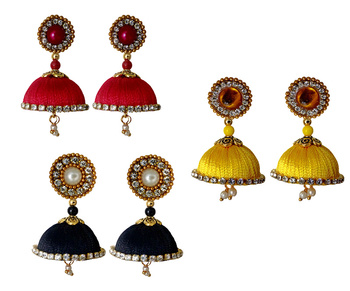 Handmae Silk Thread Red Black and Leamon Yellow Dangler Jhumka Earrings combo Set