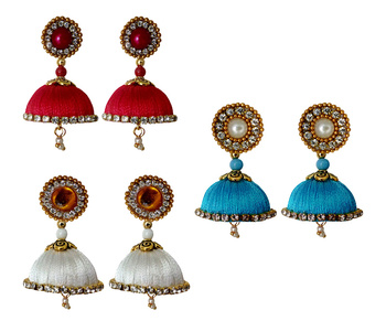 Handmae Silk Thread Red Dark Sky Blue and White Dangler Jhumka Earrings combo Set