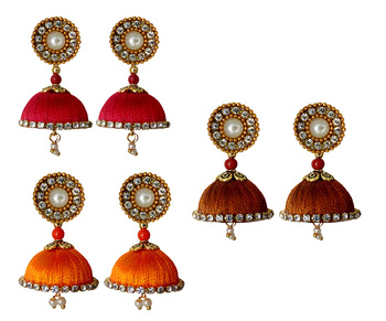 Handmae Silk Thread Red Metalic Brown and Orange Dangler Jhumka Earrings combo Set