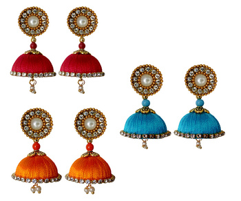 Handmae Silk Thread Red Orange and Dark Sky Blue Dangler Jhumka Earrings combo Set