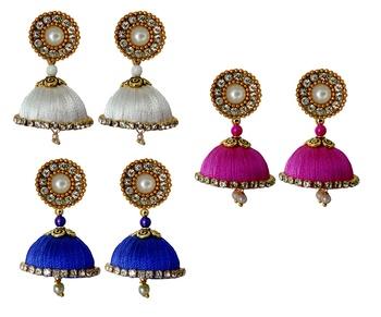 Handmae Silk Thread White Navy Blue and Magenta Dangler Jhumka Earrings combo Set