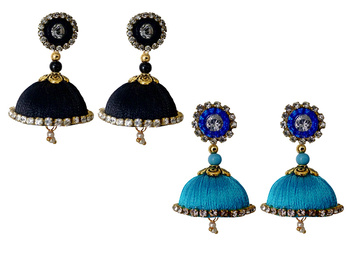 Handmae Silk Thread Black and Dark Sky Blue Dangler Jhumka Earrings combo Set