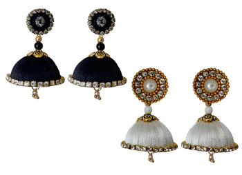 Handmae Silk Thread Black and White Dangler Jhumka Earrings combo Set