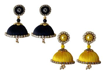 Handmae Silk Thread Black and Yellow Dangler Jhumka Earrings combo Set