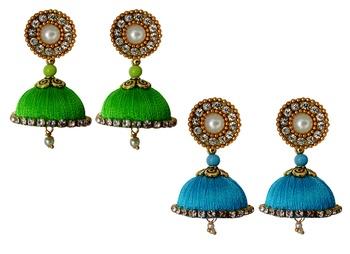Handmae Silk Thread Lawn Green and Baby Pink Dangler Jhumka Earrings combo Set