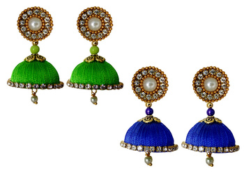 Handmae Silk Thread Lawn Green and Black Dangler Jhumka Earrings combo Set
