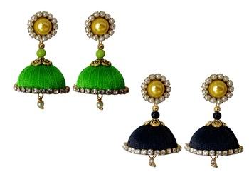 Handmae Silk Thread Lawn Green and Black Dangler Jhumka Earrings combo Set