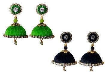 Handmae Silk Thread Lawn Green and Dark Sky Blue Dangler Jhumka Earrings combo Set