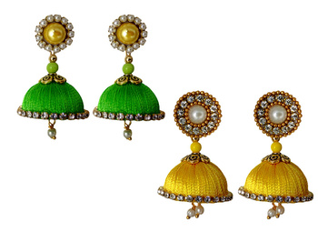 Handmae Silk Thread Lawn Green and Leamon Yellow Dangler Jhumka Earrings combo Set