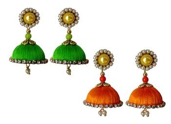 Handmae Silk Thread Lawn Green and Orange Dangler Jhumka Earrings combo Set