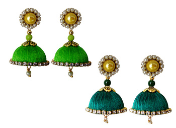 Handmae Silk Thread Lawn Green and Peacock Green Dangler Jhumka Earrings combo Set 1