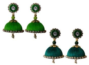 Handmae Silk Thread Lawn Green and Peacock Green Dangler Jhumka Earrings combo Set 2