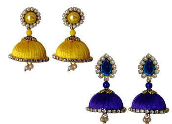 Handmae Silk Thread Leamon Yellow and Navy Blue Dangler Jhumka Earrings combo Set