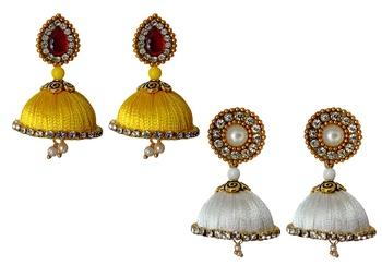Handmae Silk Thread Leamon Yellow and White Dangler Jhumka Earrings combo Set 1