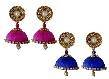 Handmae Silk Thread Magenta and Blue Dangler Jhumka Earrings combo Set