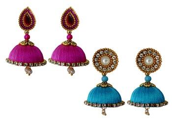 Handmae Silk Thread Magenta and Dark Sky Blue Dangler Jhumka Earrings combo Set 1