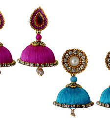 Buy Handmae Silk Thread Magenta and Dark Sky Blue Dangler Jhumka Earrings combo Set 1 combo-earring online