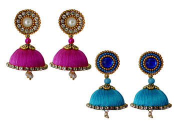 Handmae Silk Thread Magenta and Dark Sky Blue Dangler Jhumka Earrings combo Set 2