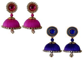 Handmae Silk Thread Magenta and Navy Blue Dangler Jhumka Earrings combo Set 1