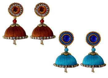 Handmae Silk Thread Metalic Brown and Dark Sky Blue Dangler Jhumka Earrings combo Set