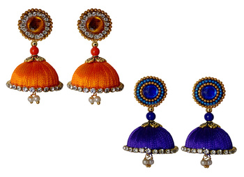 Handmae Silk Thread Orange and Navy Blue Dangler Jhumka Earrings combo Set