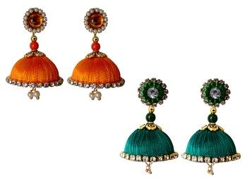 Handmae Silk Thread Orange and Peacock Green Dangler Jhumka Earrings combo Set
