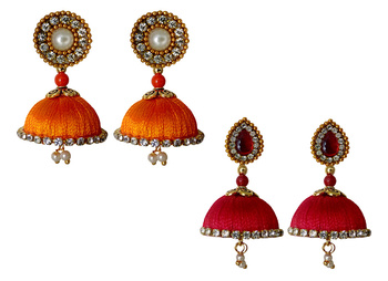 Handmae Silk Thread Orange and Red Dangler Jhumka Earrings combo Set 2