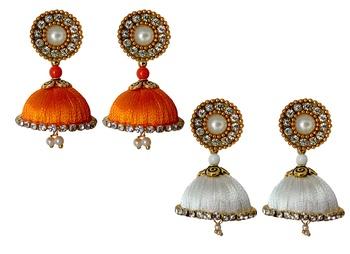 Handmae Silk Thread Orange and White Dangler Jhumka Earrings combo Set