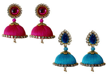 Handmae Silk Thread Pink and Dark Sky Blue Dangler Jhumka Earrings combo Set 1