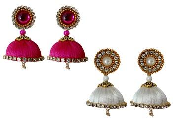 Handmae Silk Thread Pink and White Dangler Jhumka Earrings combo Set