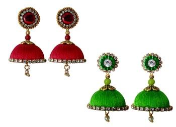 Handmae Silk Thread Red and Lawn Green Dangler Jhumka Earrings combo Set